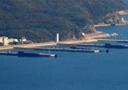 Three Chinese Type 094 nuclear missile submarines recently in the South China Sea
