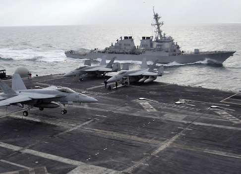 A U.S. Navy aircraft carrier in the Persian Gulf / AP