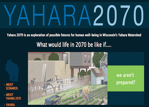 A screenshot of the Yahara 2070 website by the University of Wisconsin-Madison.