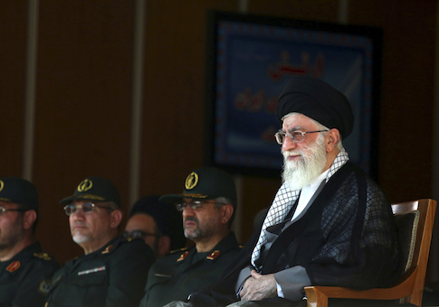Iran's Supreme Leader Ayatollah Ali Khamenei with Maj. Gen. Yahya Rahim Safavi (second from left) / AP
