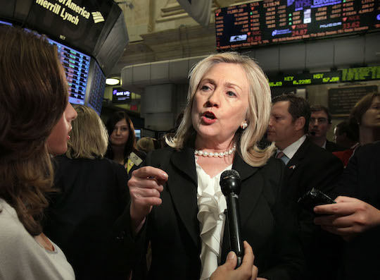 Hillary Clinton at the New York Stock Exchange. (AP)