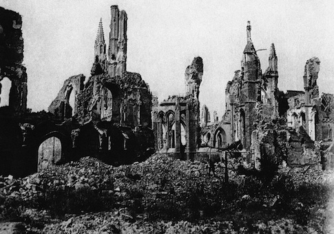 Ypres Cathedral in Ypres, Belgium, seen from the market square during World War I