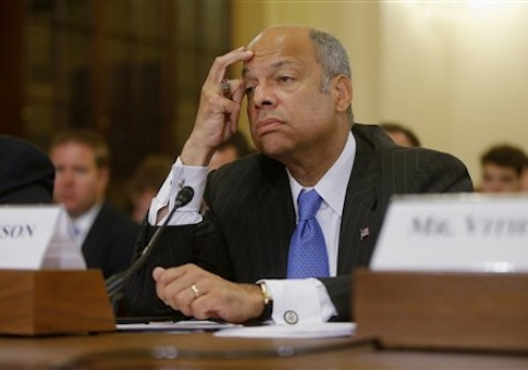 Secretary Jeh Johnson listens while testifying on Capitol Hill on Tuesday/ AP
