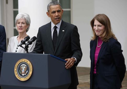 Barack Obama, Kathleen Sebelius, Sylvia Mathews Burwell / AP