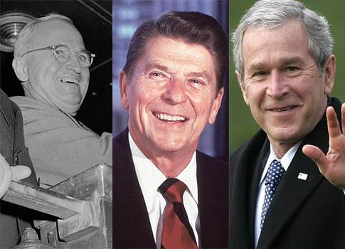 Presidents Harry Truman, Ronald Reagan, and George W. Bush / AP