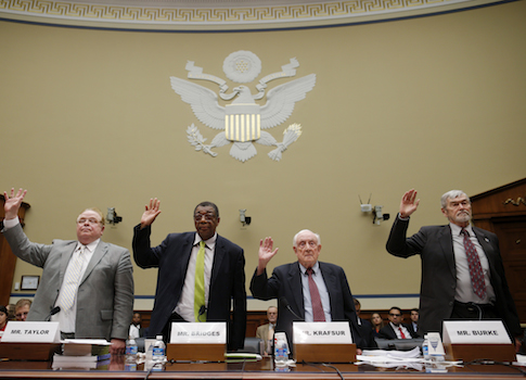 Social Security judges Harry Taylor, Charles Bridges, Gerald Krafsur, and James Burke / AP