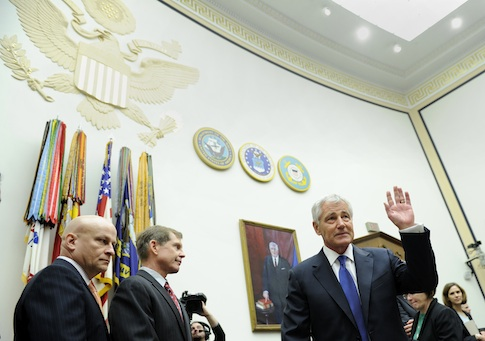 Defense Secretary Chuck Hagel testifies before the House Armed Services Committee / AP