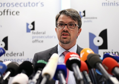Belgian federal prosecutor Frederic Van Leeuw addresses a news conference in Brussels June 1, 2014, after French police arrested a 29-year-old man suspected of involvement in the shooting deaths last weekend of three people at the Jewish Museum in Brussels