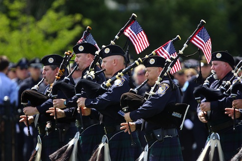 Members of the New Hampshire Police Association Pipes and Drums / AP