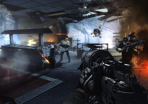 "This video game image released by Bethesda Softworks shows resistance fighters battling German troops in Nazi-occupied London in a scene from ""Wolfenstein: The New Order"""