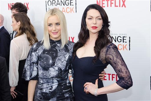 Taylor Schilling and Laura Prepon, stars of Orange Is the New Black (AP)