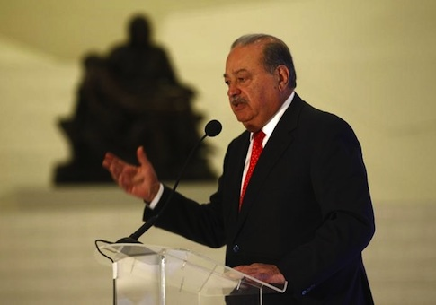 Mexican billionaire Carlos Slim speaks during the presentation of a digital platform, which was created in partnership with the Carlos Slim Foundation