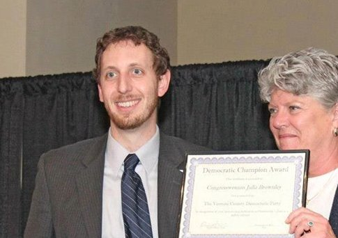Rep. Julia Brownley (D., Calif.) accepts the Democratic Champion Award from VCDCC chair, David Atkins. / Facebook