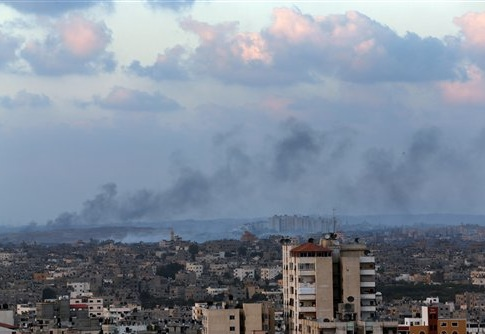 Smoke rises after an Israeli missile strike hit the northern Gaza Strip
