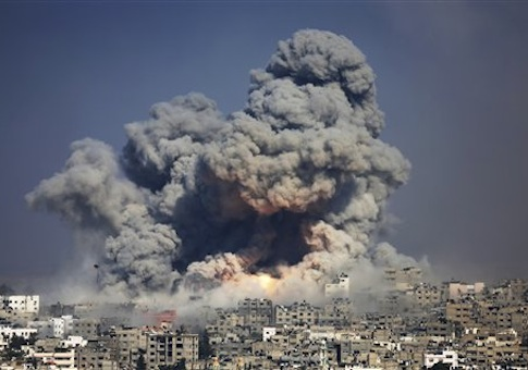 Smoke and fire from the explosion of an Israeli strike rise over Gaza City