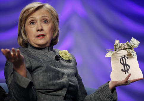 Elderly homeowner Hillary Clinton holds an hour's worth of wages. (AP)