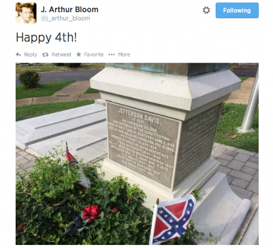 And he questions OUR patriotism. (Screenshot of J. Arthur Bloom's Twitter feed)