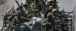 Ukrainian troops are pictured in the eastern Ukrainian town of Konstantinovka
