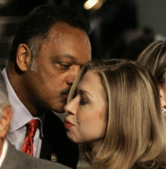 Rev. Jesse Jackson greets Chelsea Clinton before a Democratic presidential debate in 2008 / AP