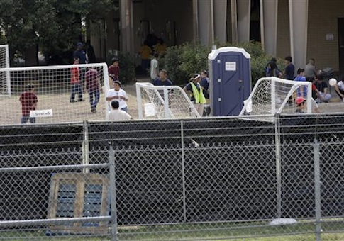 A temporary shelter for unaccompanied minors who have entered the country illegally is seen at Lackland Air Force Base