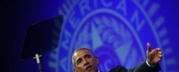 President Barack Obama speaks about veterans issues at the American Legionís 96th National Convention at the Charlotte Convention Center in Charlotte, N.C.
