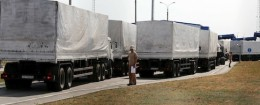 "Trucks of a Russian convoy carrying humanitarian aid for Ukraine drive onto the territory of a Russia-Ukraine border crossing point ""Donetsk"" in Russia's Rostov Region"