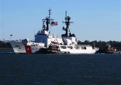 The Coast Guard Cutter Gallatin sails into port in North Charleston, S.C., on Wednesday, Dec. 11, 2013