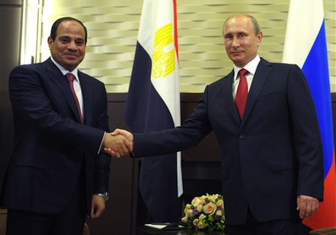 ussian President Vladimir Putin and Egyptian President Abdel-Fattah el-Sissi in Sochi, Russia on Tuesday / AP