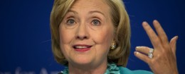 Hillary Clinton flashes a gang sign commonly associated with the super wealthy. (AP)