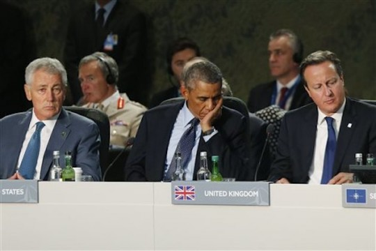 Barack Obama, David Cameron, Chuck Hagel