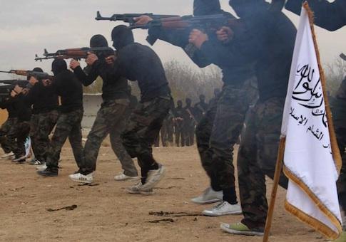 Al Qaeda linked Ahrar al-Sham brigade in Syria / AP