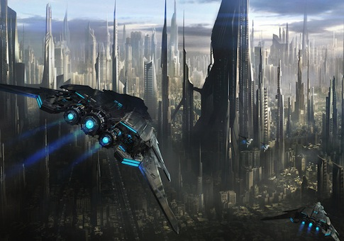 Depiction of a futuristic city