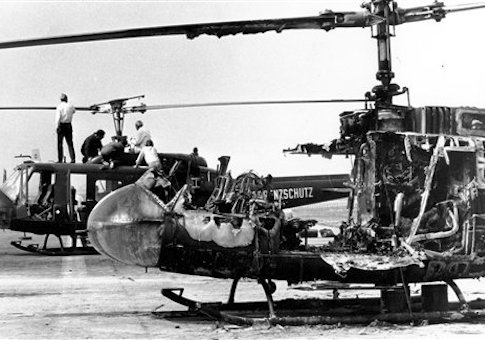 Two West German border police helicopters that carried armed terrorists and their nine Israeli Olympian hostages, stand at Fuerstenfeldbruck air force base about 20 miles west of Munich, Germany