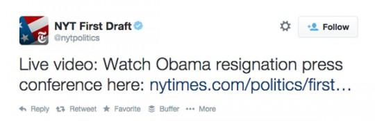 New York Times mistakenly announces Obama resignation/Mediaite
