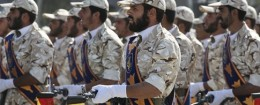 Members of Iran's Revolutionary Guard march