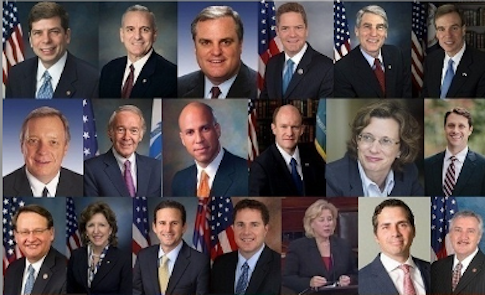 A collection of the all-white spread of Democratic candidates. /RedState