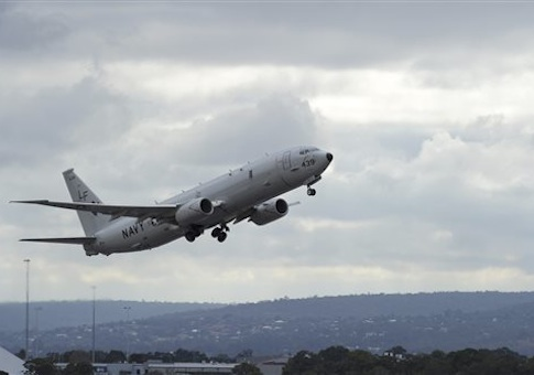 U.S. Navy P-8 Poseidon aircraft flies out from Perth, Australia