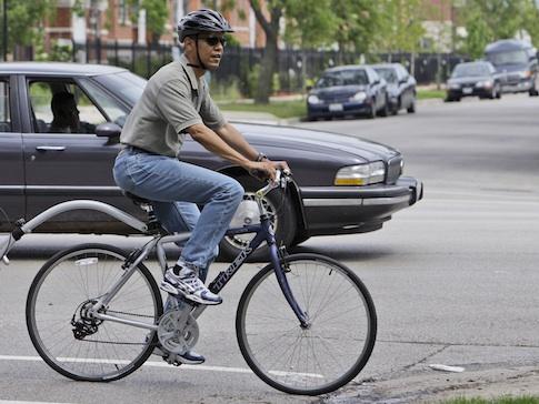 Barack Obama on a bike in 2008 / AP