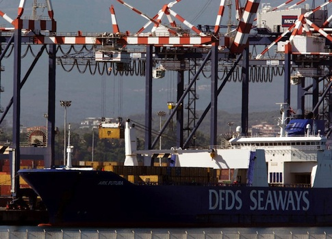 Container is moved from Danish ship Ark Future, carrying a cargo of Syria's chemical weapons, after it arrived at Gioia Tauro port in southern Italy