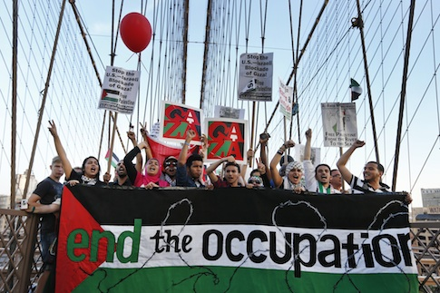 Anti-Israel protest on New York City's Brooklyn Bridge / AP
