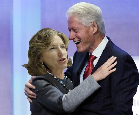 Senator Kay Hagan poses with sexual predator Bill Clinton. (AP)
