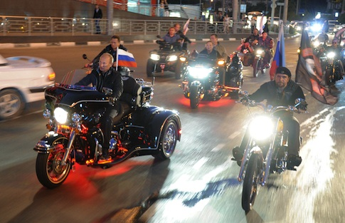 Vladimir Putin leads the Night Wolves biker group / AP