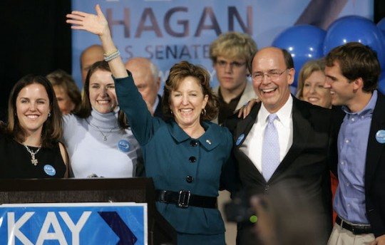 Kay Hagan celebrates with her husband, daughters, and son Tilden. (AP)