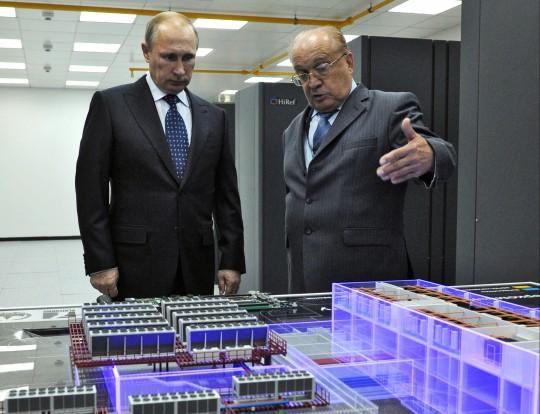 Russian President Vladimir Putin visits the laboratory where the super computer Lomonosov is placed / AP