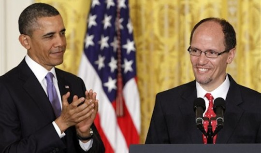 President Obama with Labor Secretary Thomas Perez / AP
