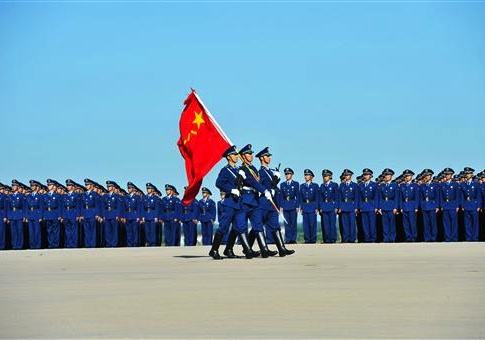 Army troops are pictured at the Changchun First Aviation Open Day, northeast Chinas Jilin province, 1 September 2011