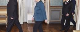 Ukraine's President Petro Poroshenko, German Chancellor Angela Merkel, Russia's President Vladimir Putin and Italy's Prime Minister Matteo Renzi arrive for a meeting on the sidelines of a Europe-Asia summit (ASEM) in Milan October 17