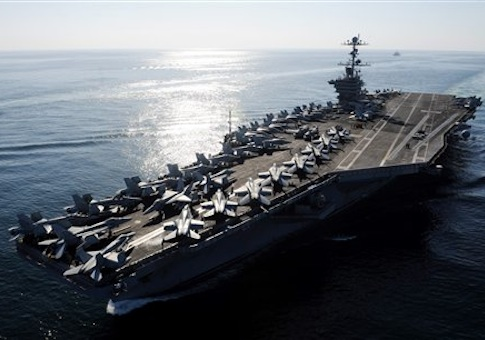 The Nimitz-class aircraft carrier USS John C. Stennis (CVN 74) transits the Straits of Hormuz