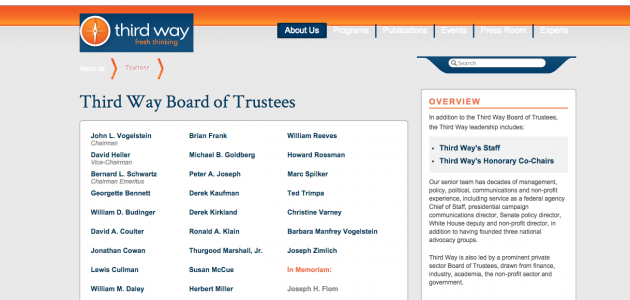 Screen shot of Third Way website with Klain removed from Board of Trustees