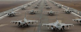 F-16 Fighting Falcons demonstrate an 'Elephant Walk' as they taxi, Kunsan Air Base, South Korea - 14 Dec 2012